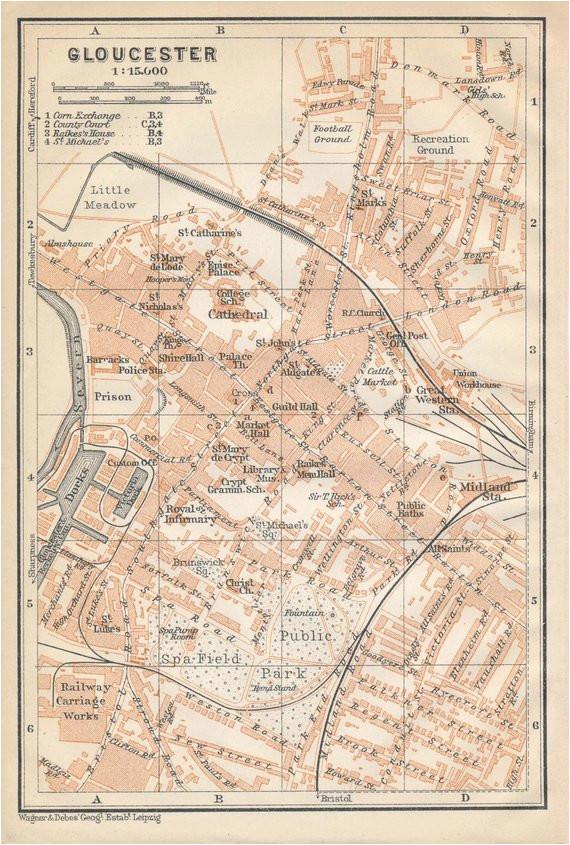 1910 gloucester united kingdom great britain antique map