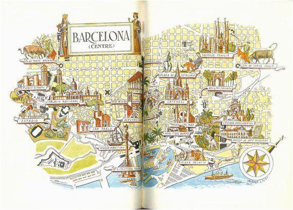 barcelona map print vintage city of barcelona spain map world