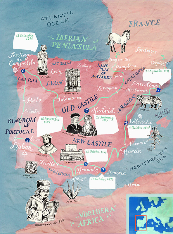 Cartoon Map Of Spain Historic Illustrated Map Of Spain and Portugal for Bbc World