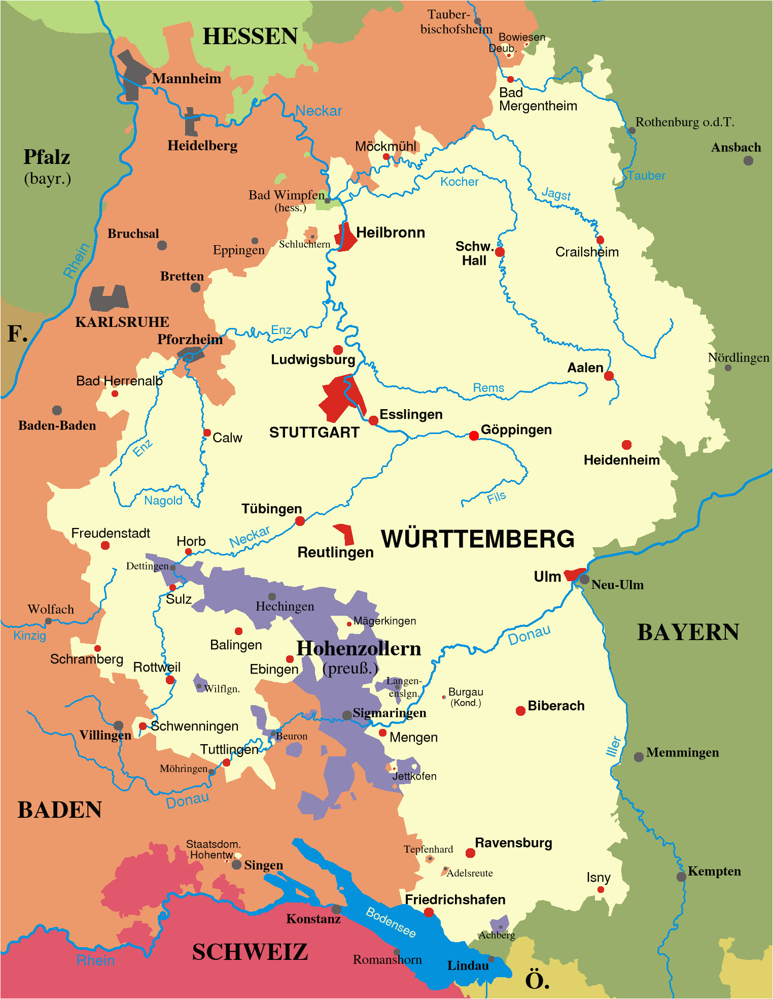 map of wurttemberg and baden from 1810 1945 places and
