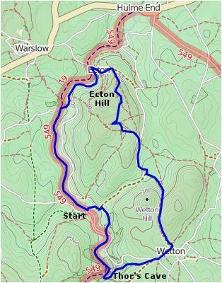 thor s cave map lake district peak district walking