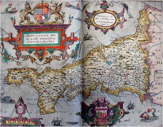 tudor map of cornwall 1579 christopher saxton the