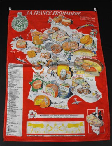vintage french cheeses map kitchen towel ebay