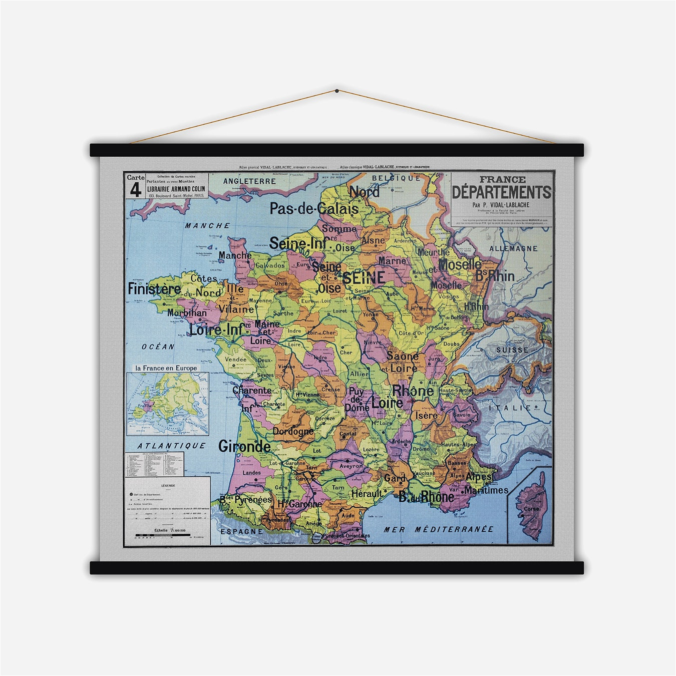 france departements vintage map