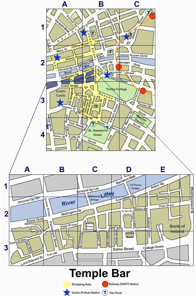 dublin city centre street map irishtourist com