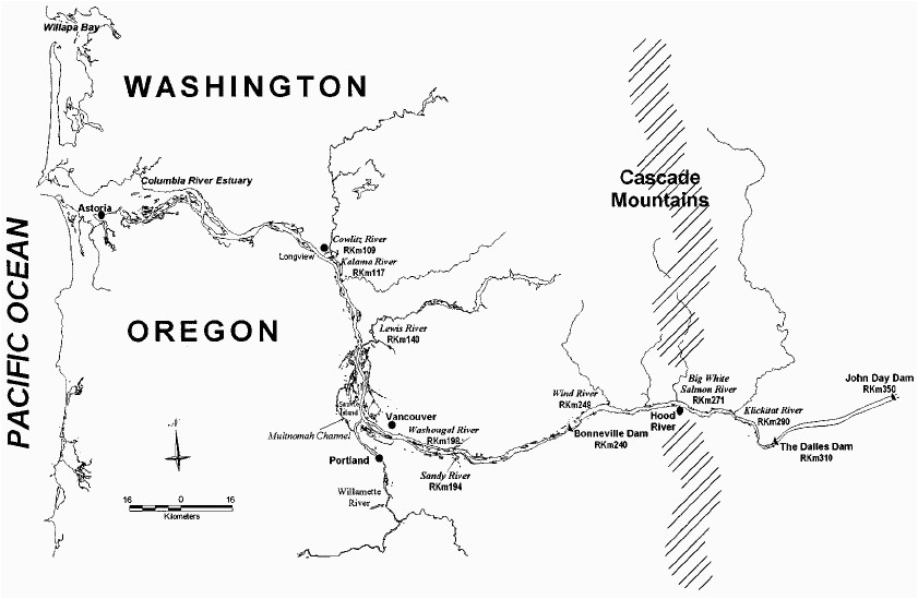 map of the lower 350 km of the columbia river drainage identifying