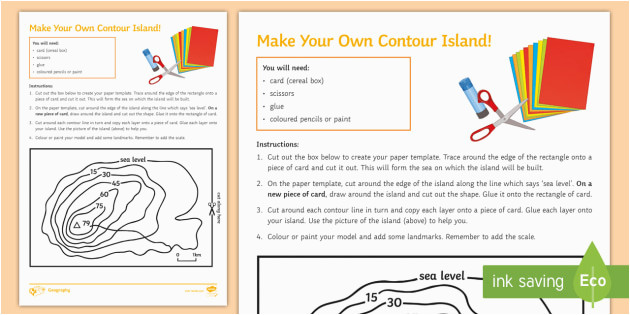 make your own contour island worksheet contour contour lines height