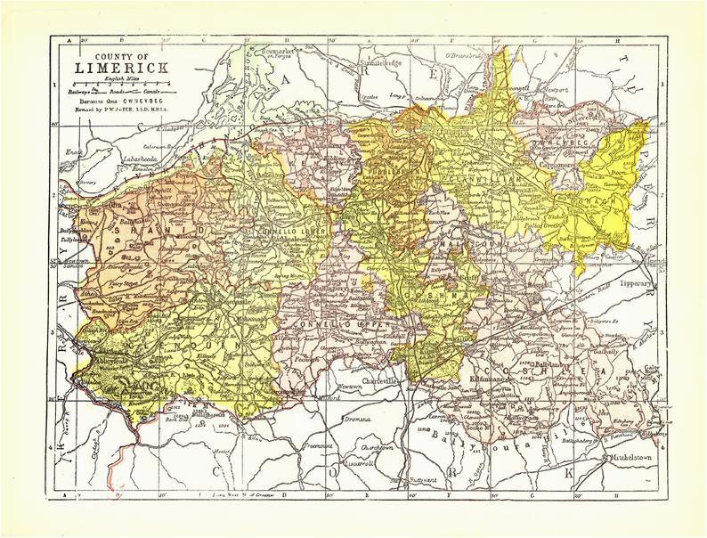 ireland county of limerick map c1903 irish history antique 8x11 historical ephemera vintage european wall decor art print