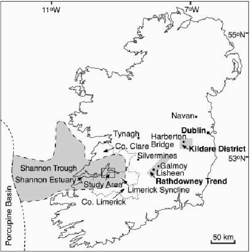 map of ireland showing the location of the shannon trough and