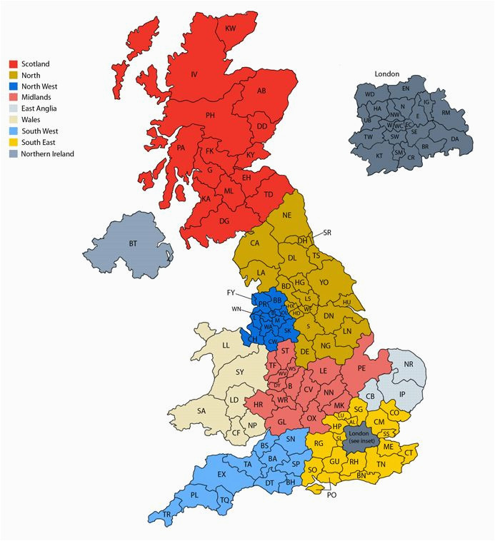 post code map maps of parts of the british isles map of britain