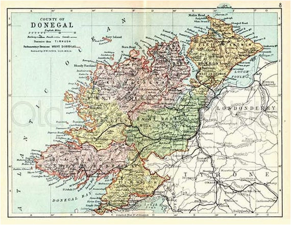 donegal 1897 antique irish map of county donegal print 8 x 10ins ships worldwide