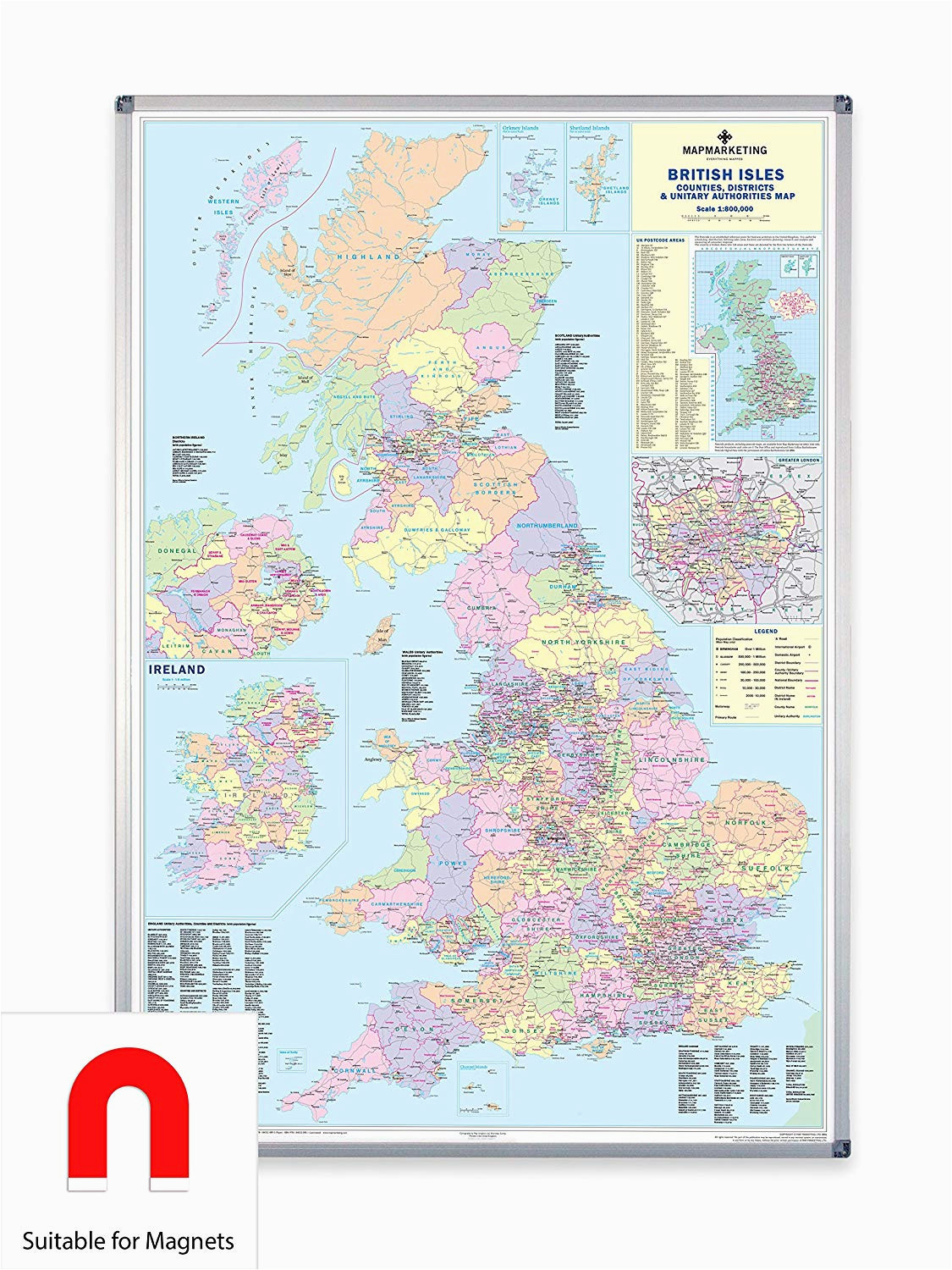 uk counties large wall map for business laminated