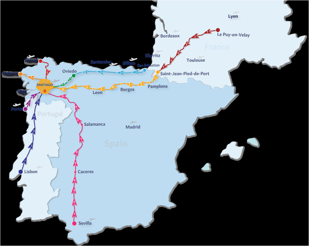 El Camino Trail Spain Map Camino De Santiago Routes Follow the Camino