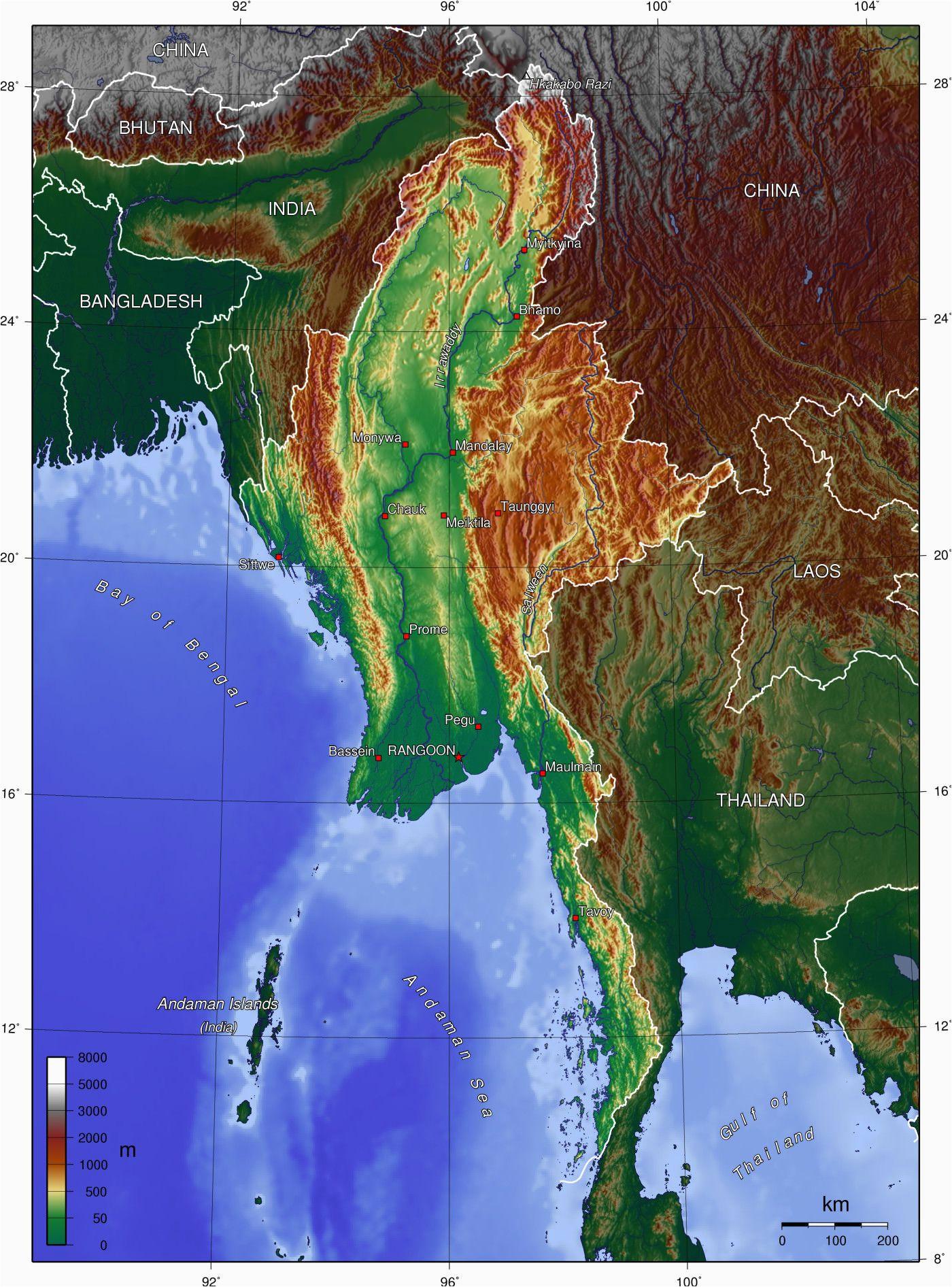 topographic map of myanmar p1 burma campaign singapore travel
