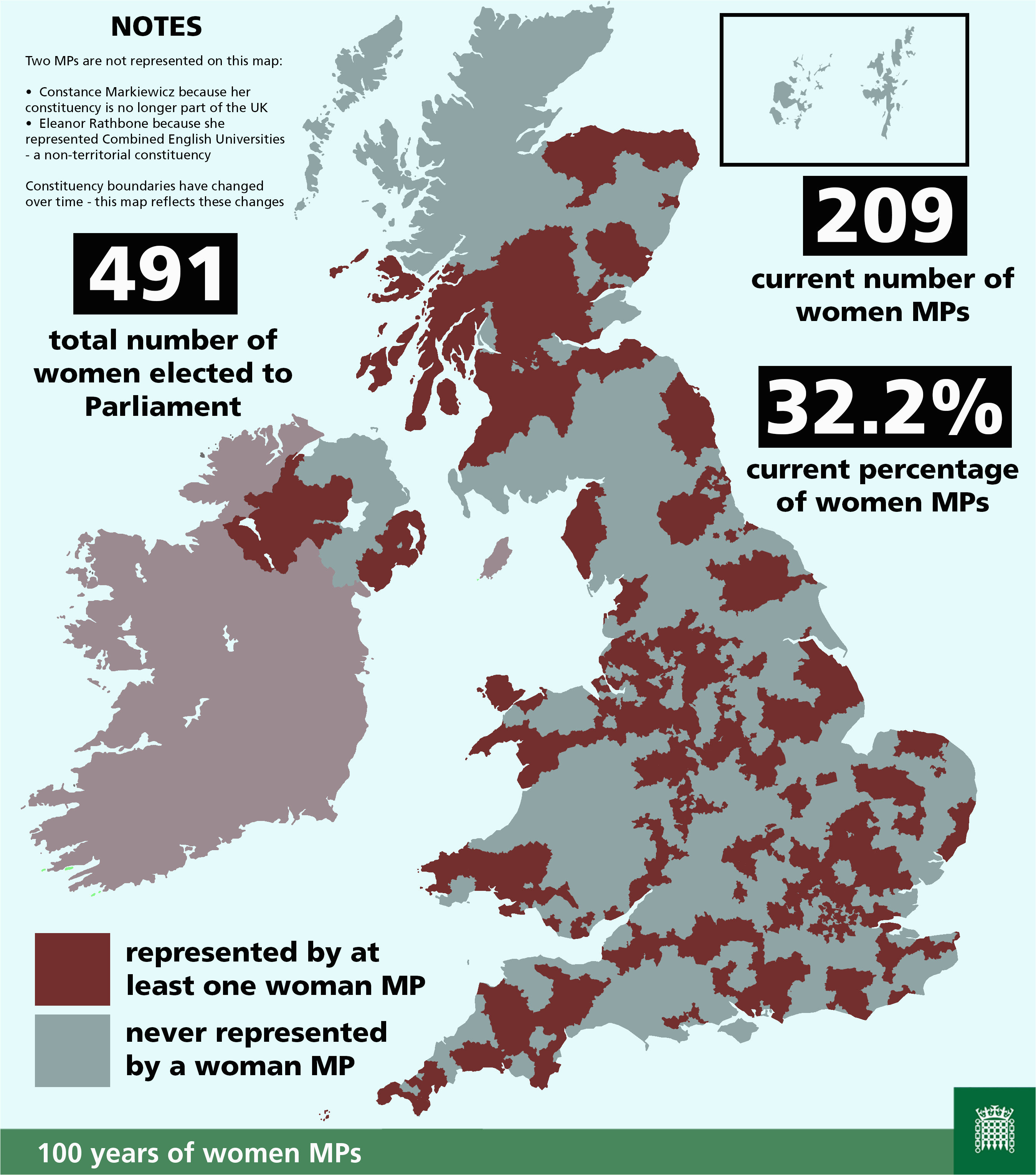 which areas of the uk have ever been represented by a woman
