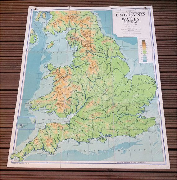 England Geographical Map England and Wales Physical Map Philips by Wafflesandsprout