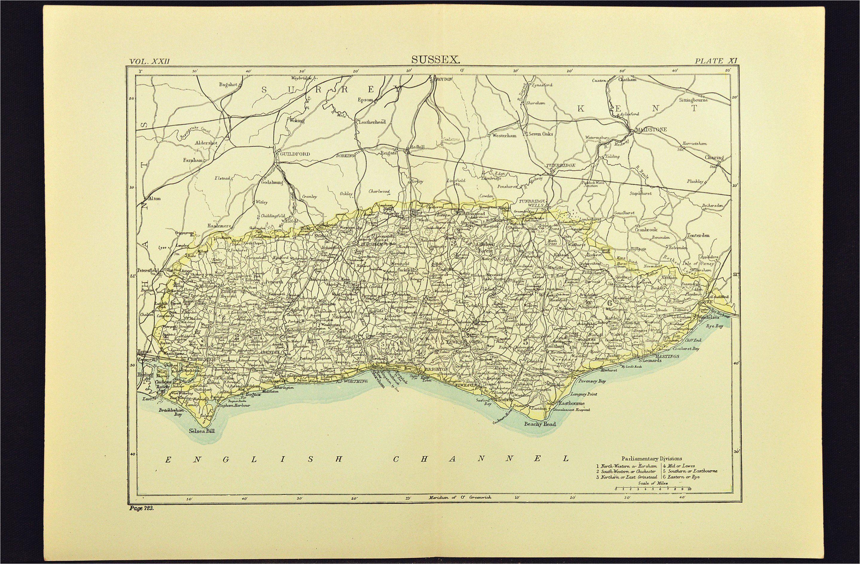 antique sussex map of sussex county england united kingdom brighton