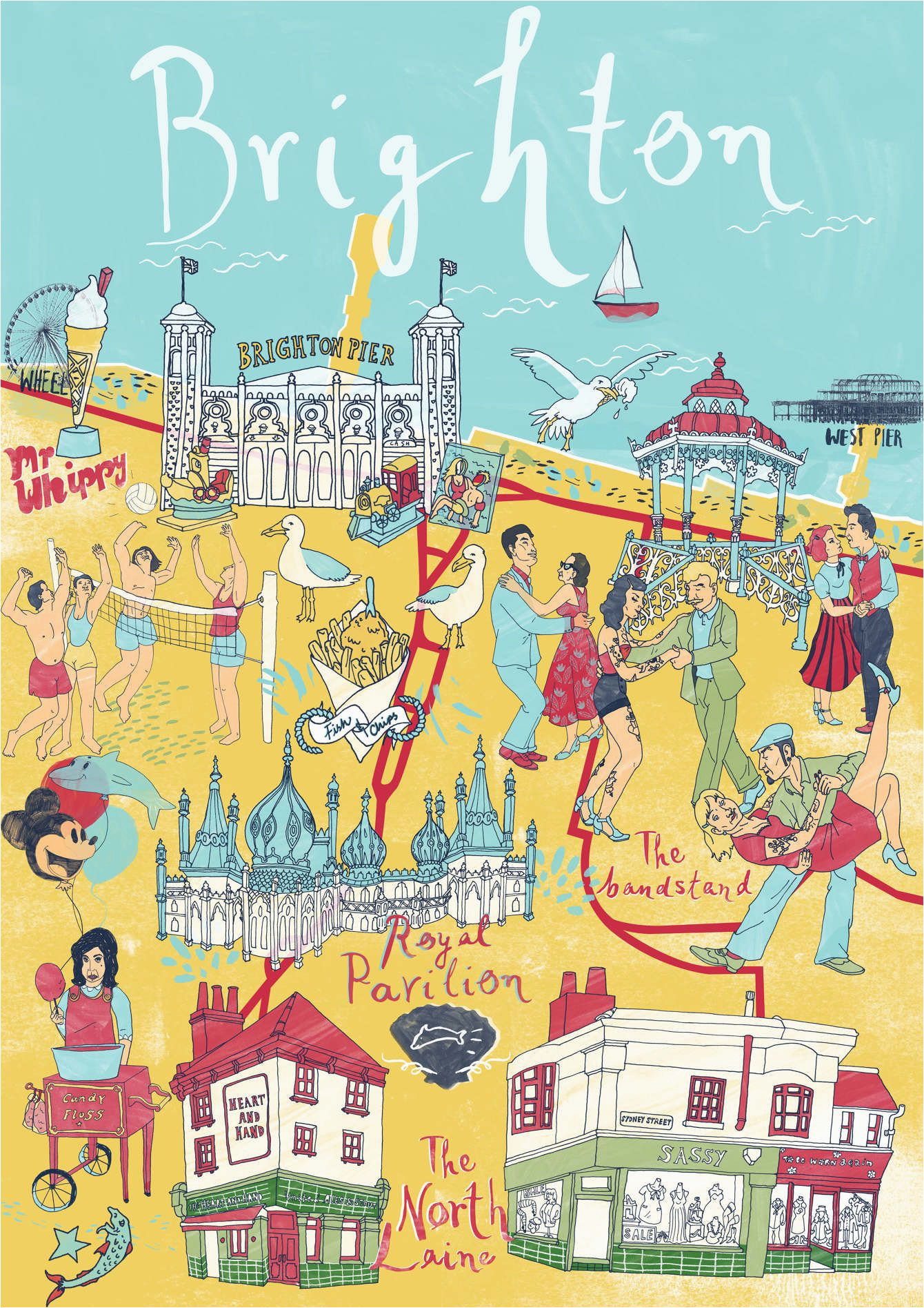 brighton map sia tzavalas illustration map england brighton uk