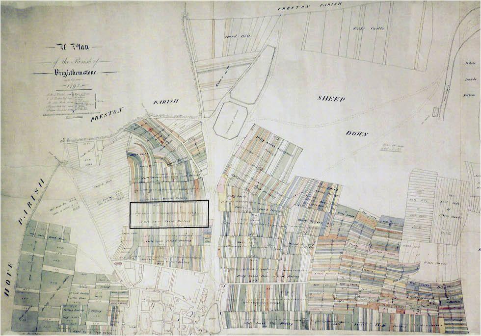 terrier map of brighton 1792 third furlong here shown framed