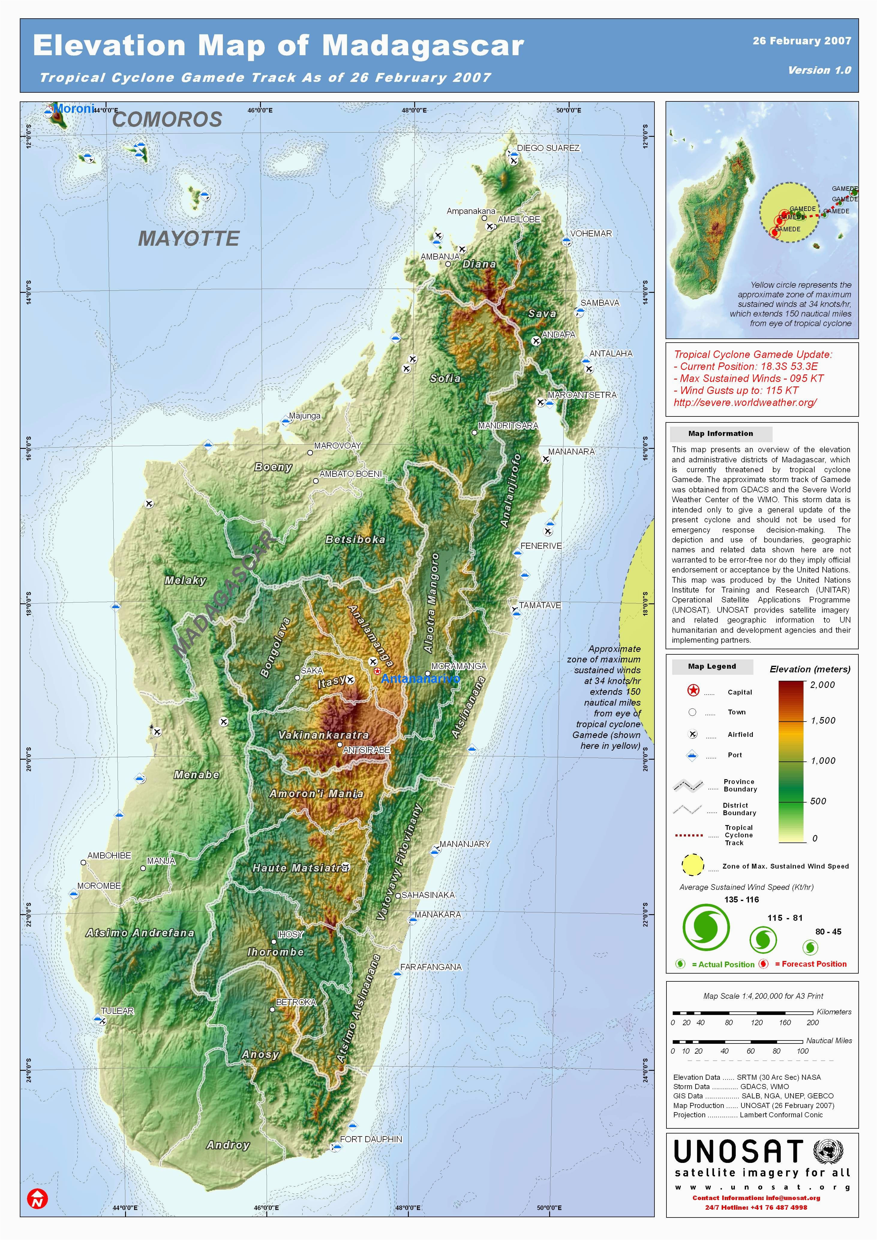 madagascar topography by unosat map madagascar topography