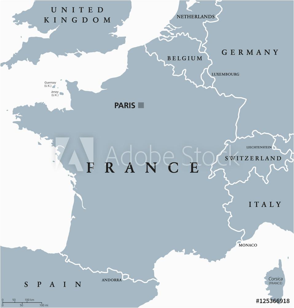fotografie obraz france political map with capital paris