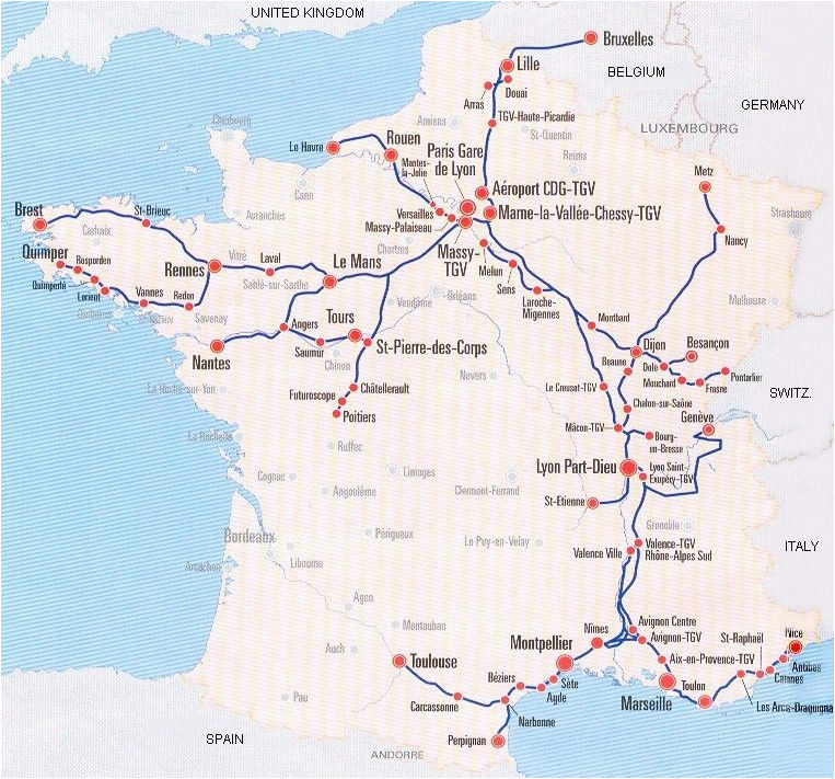 image detail for france train map of tgv high speed train system