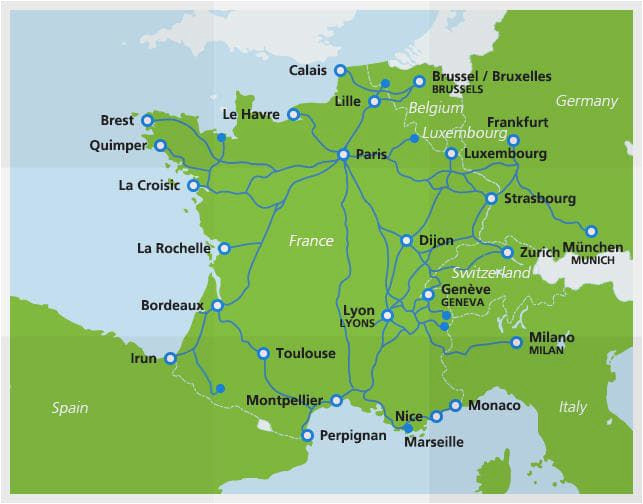 France Tgv Network Map Map Of Tgv Train Routes and Destinations In France