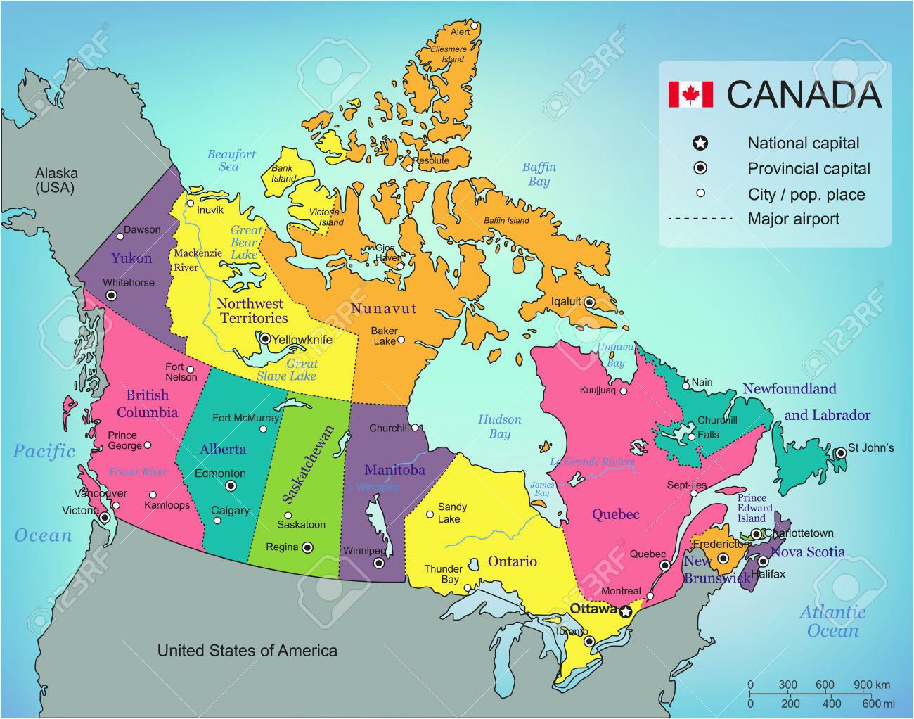 Provinces Map Of Canada In French.French Map Of Canada With Capitals