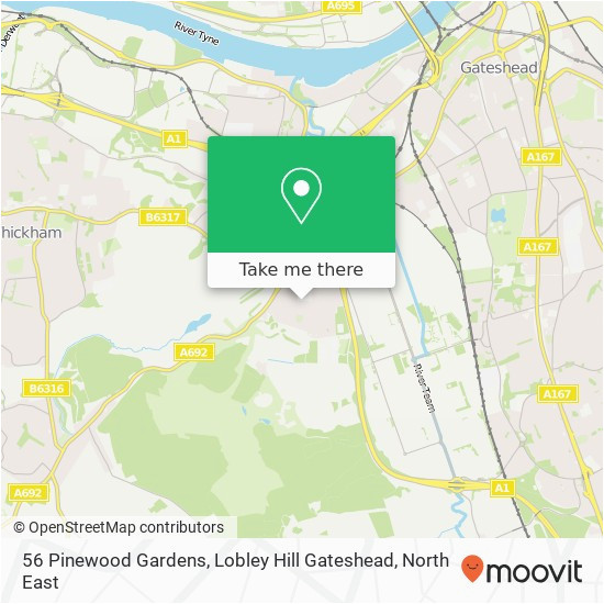 how to get to 56 pinewood gardens lobley hill gateshead in