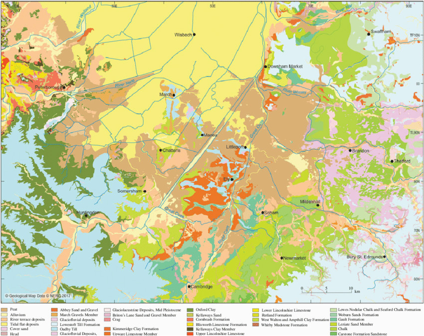 quaternary and bedrock geological map of fenland showing the