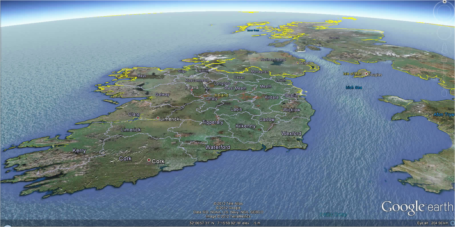 ireland earth map