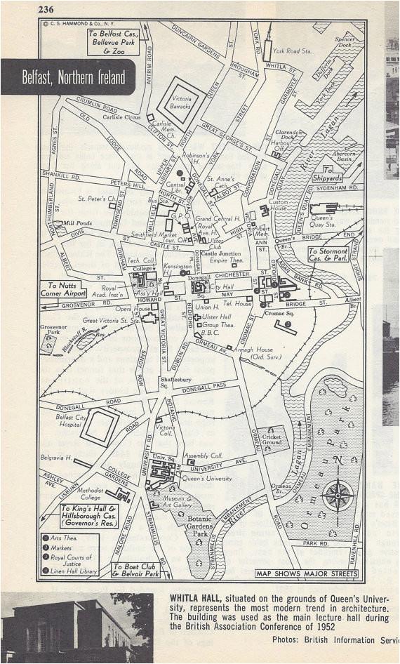belfast northern ireland map city map street map 1950s