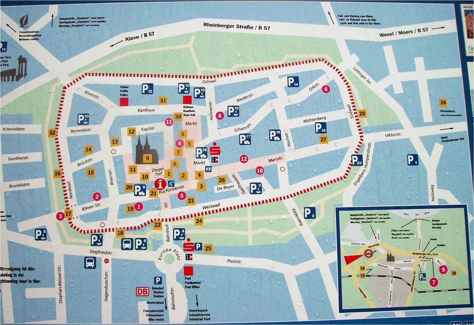 xanten tourist map xanten germany mappery