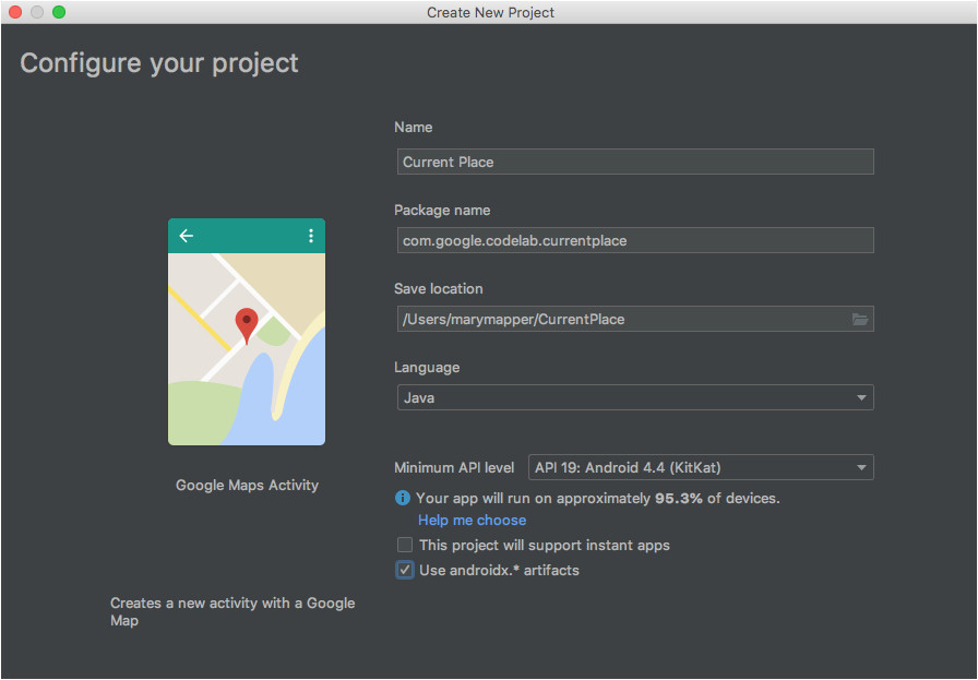 build your own current place picker for android