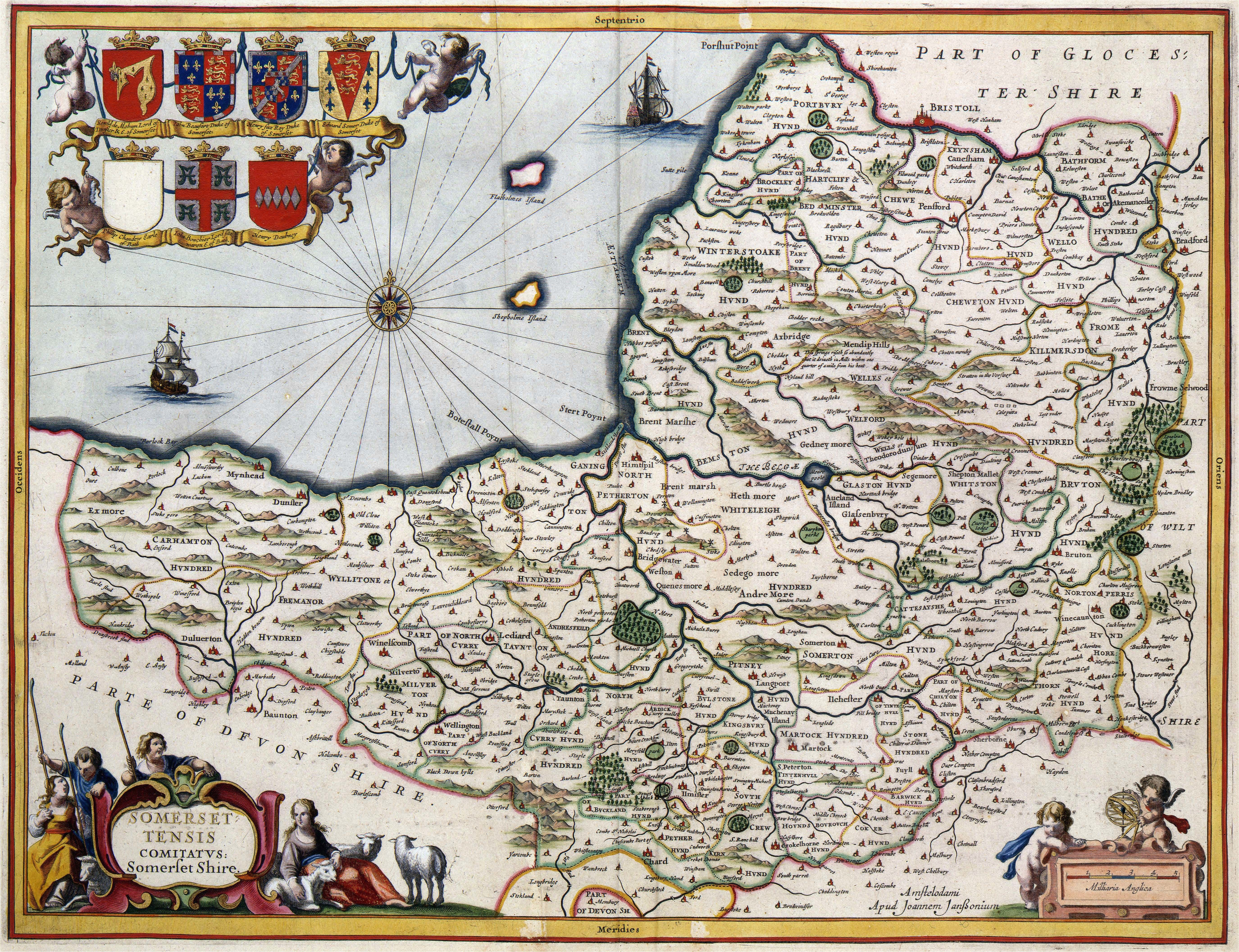 400 year old map of somerset circa 1648 mapmania map