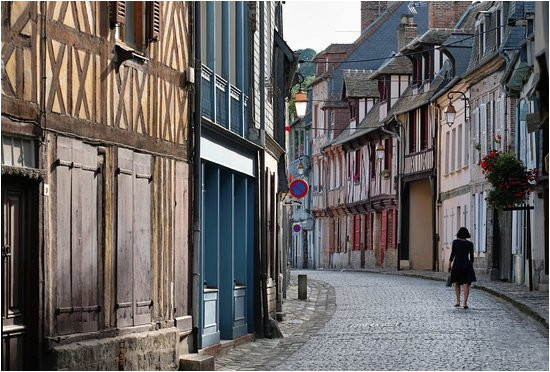 street in old town of honfleur normandy picture of
