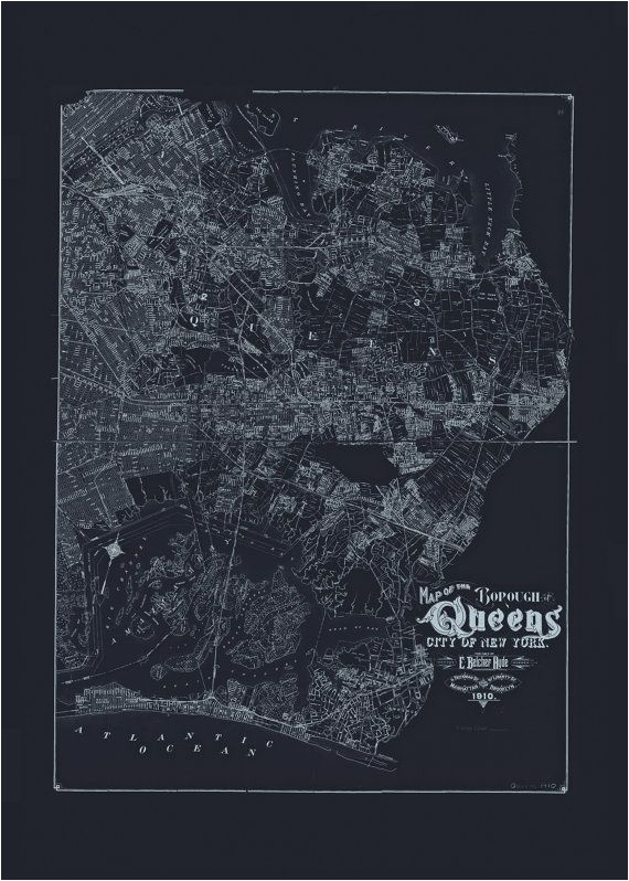 queens nyc map blueprint map of queens by encoreprintsociety