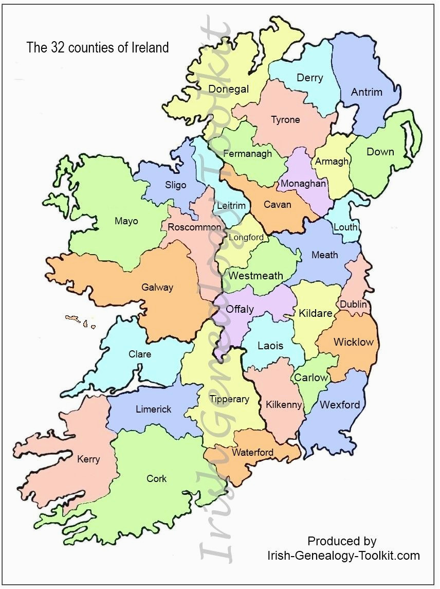 Ireland Map Counties and towns Map Of Counties In Ireland This County Map Of Ireland Shows All 32