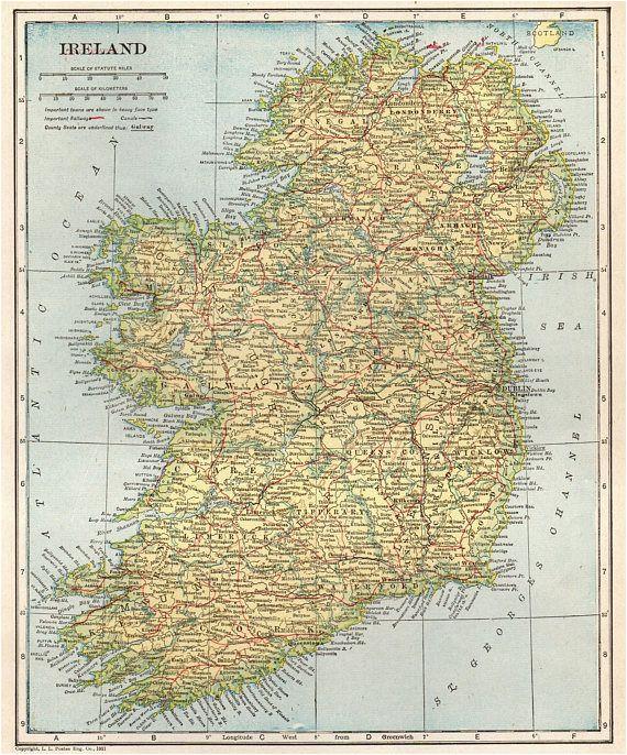 1907 antique ireland map vintage map of ireland gallery wall
