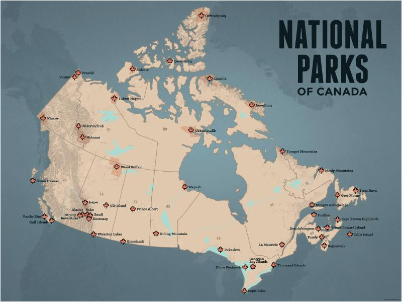 canada national parks map 18x24 poster