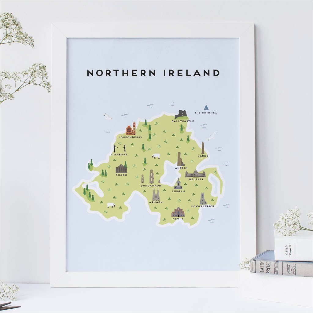 map of northern ireland print