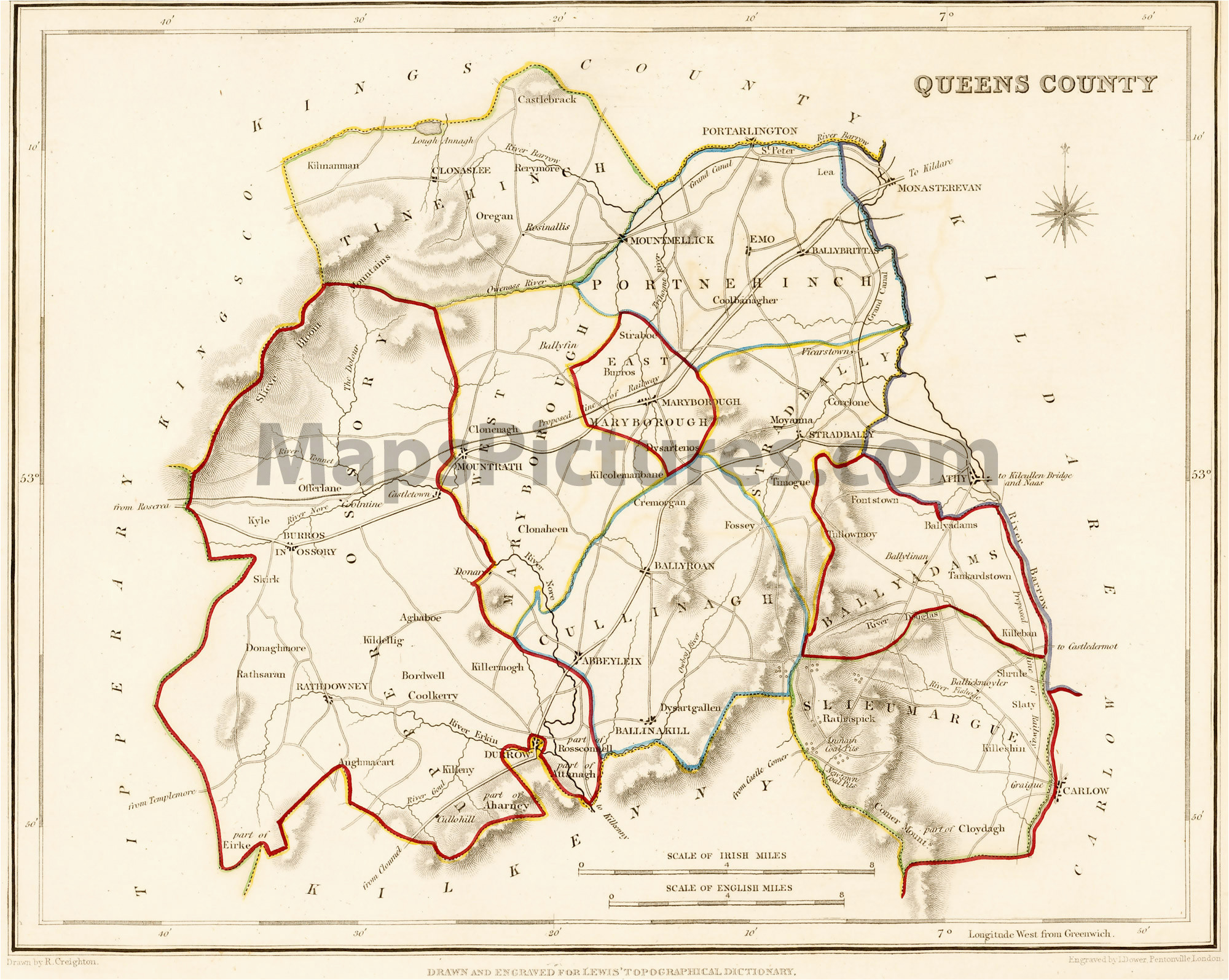 county queens county laois ireland map 1837