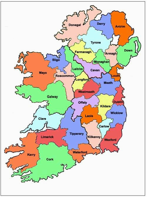 map of ireland ireland map showing all 32 counties ireland in
