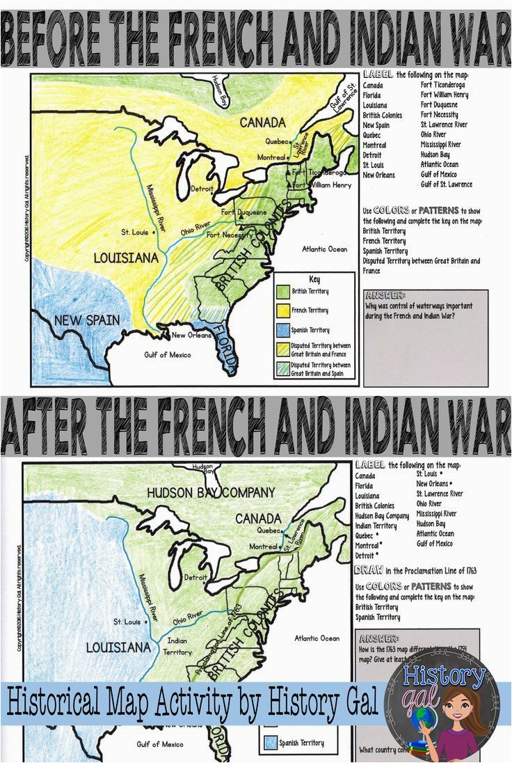 french and indian war map activity american revolution project