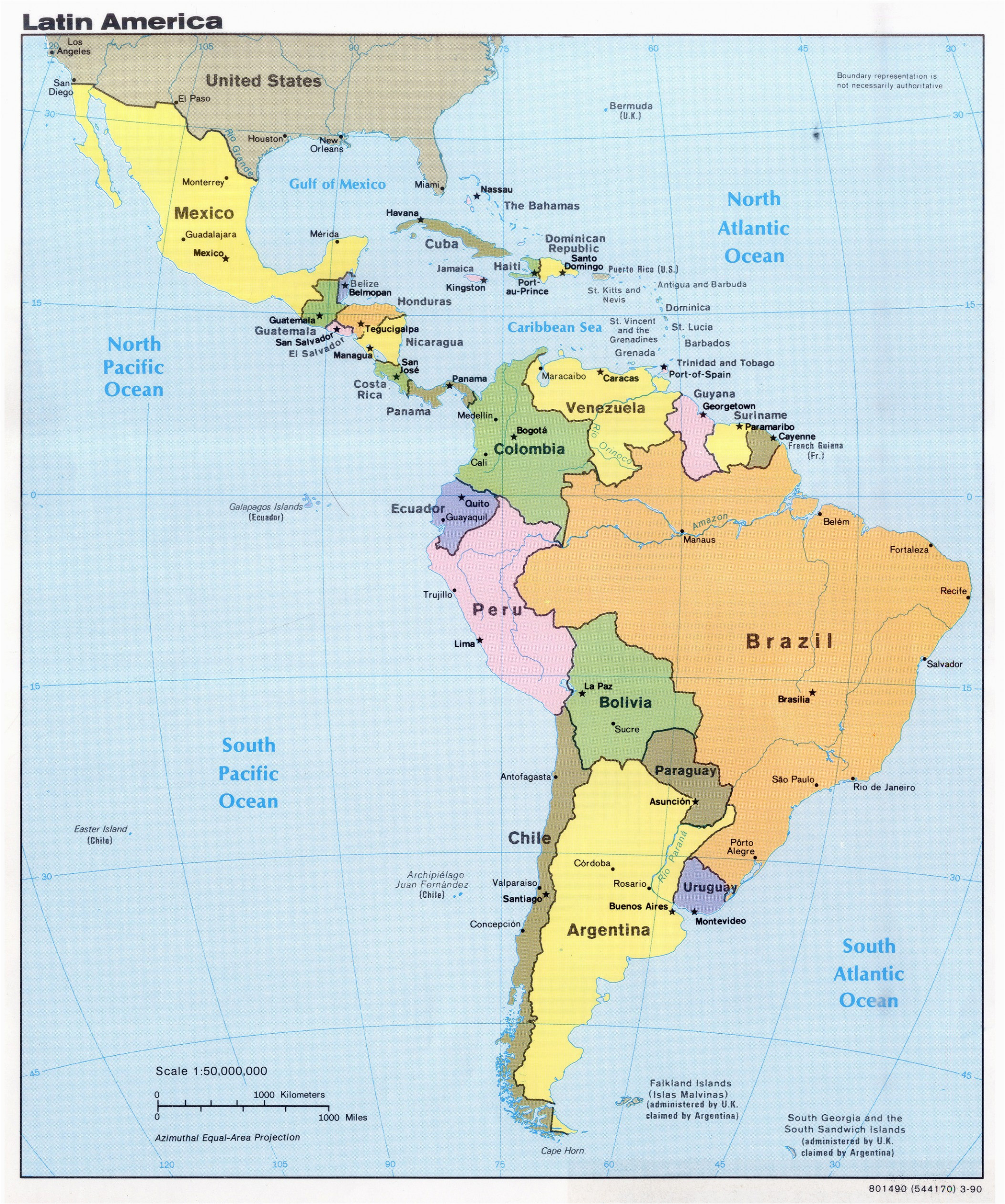 latin america map with capitals climatejourney org