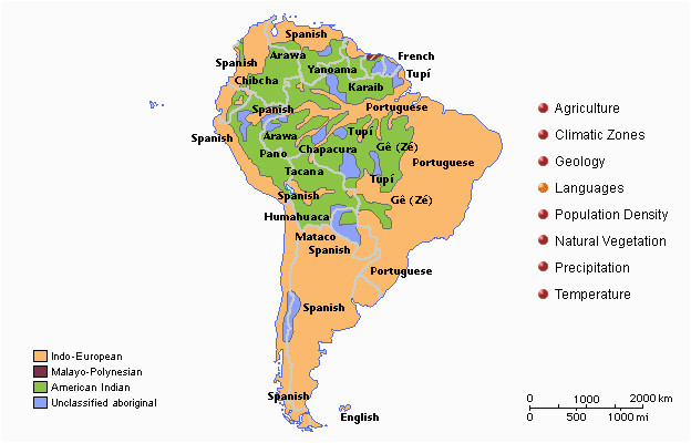 this map of south america show the variety of languages