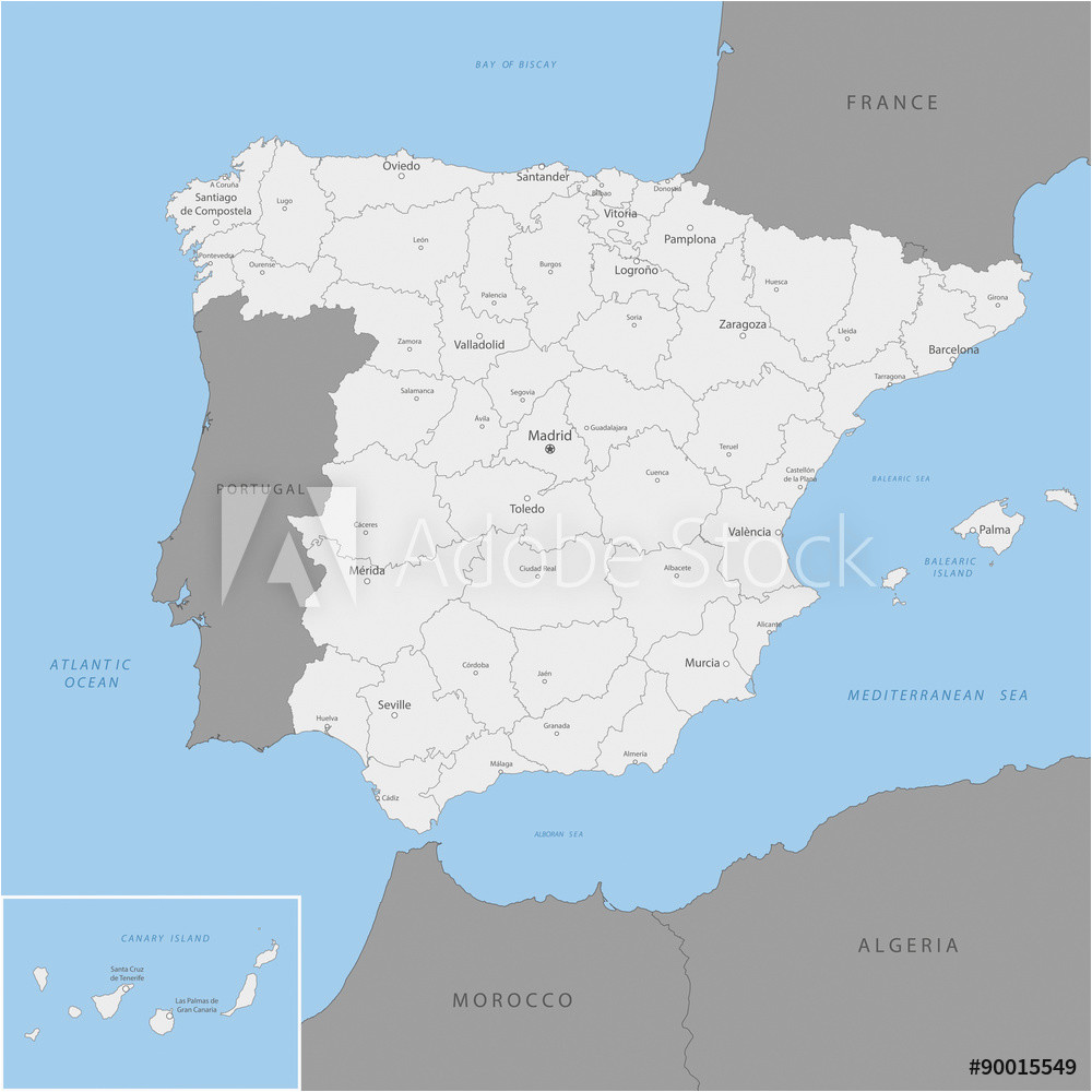 fotografie obraz highly detailed map of spain vector posters cz