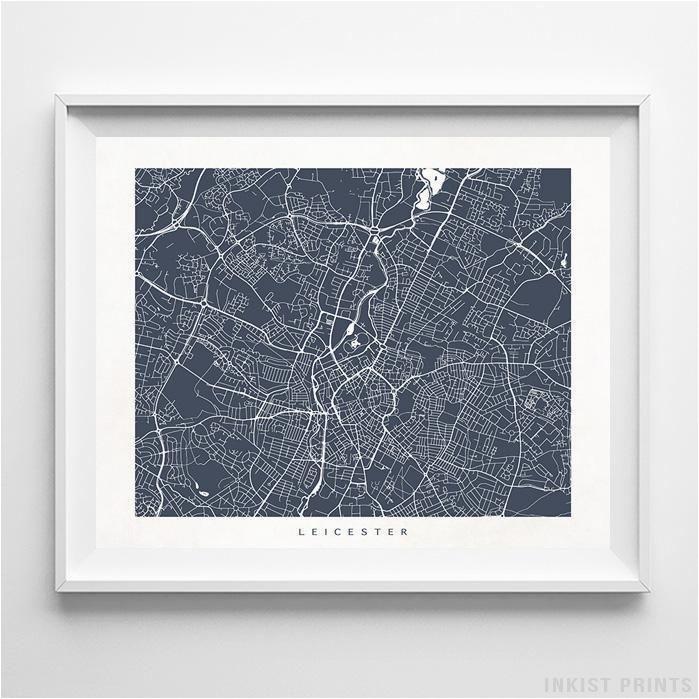 leicester england street map horizontal print europe