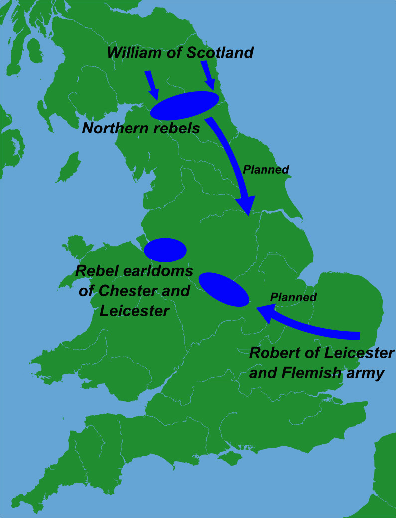 Leicester On the Map Of England File Great Revolt England 1173 Png Wikimedia Commons