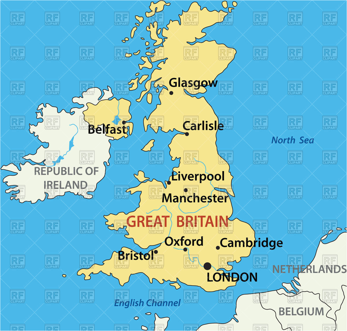 map of the united kingdom stock vector image